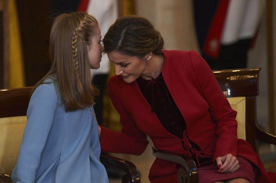 La princesse Leonor et la reine Letizia d'Espagne à Madrid, le 30 janvier 2018