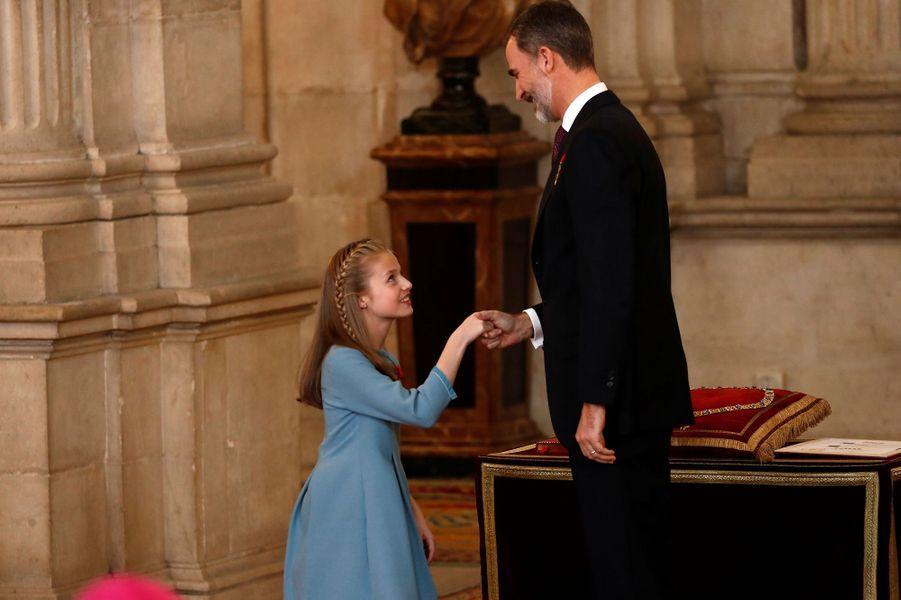 La princesse Leonor et le roi Felipe VI d'Espagne à Madrid, le 30 janvier 2018