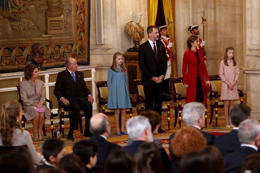 La famille royale d'Espagne à Madrid, le 30 janvier 2018