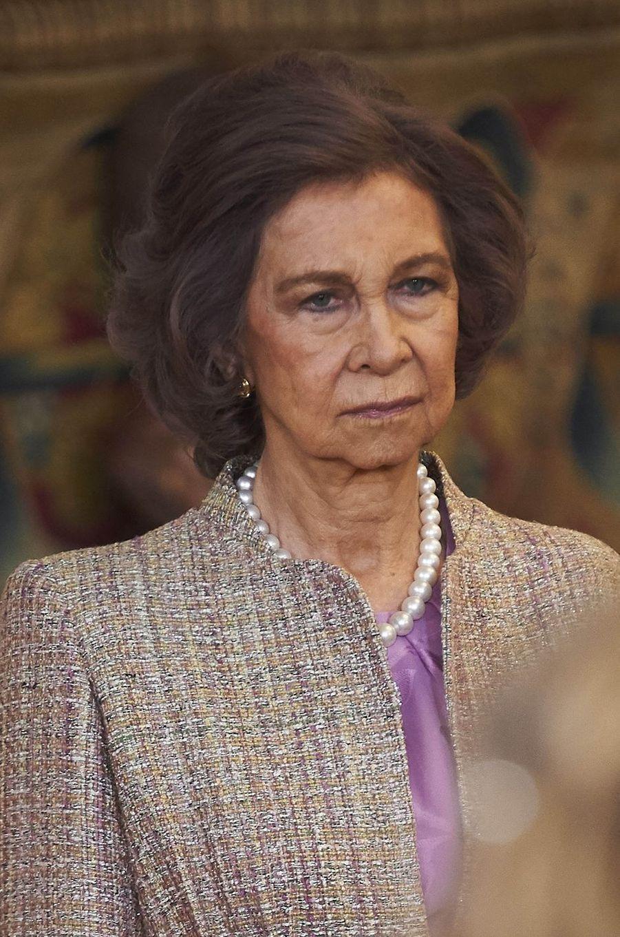 L'ex-reine Sofia d'Espagne à Madrid, le 30 janvier 2018