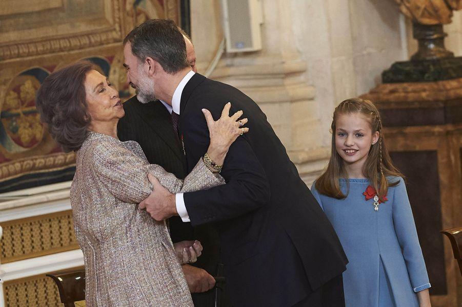 La princesse Leonor avec le roi Felipe VI d'Espagne et l'ex-reine Sofia à Madrid, le 30 janvier 2018