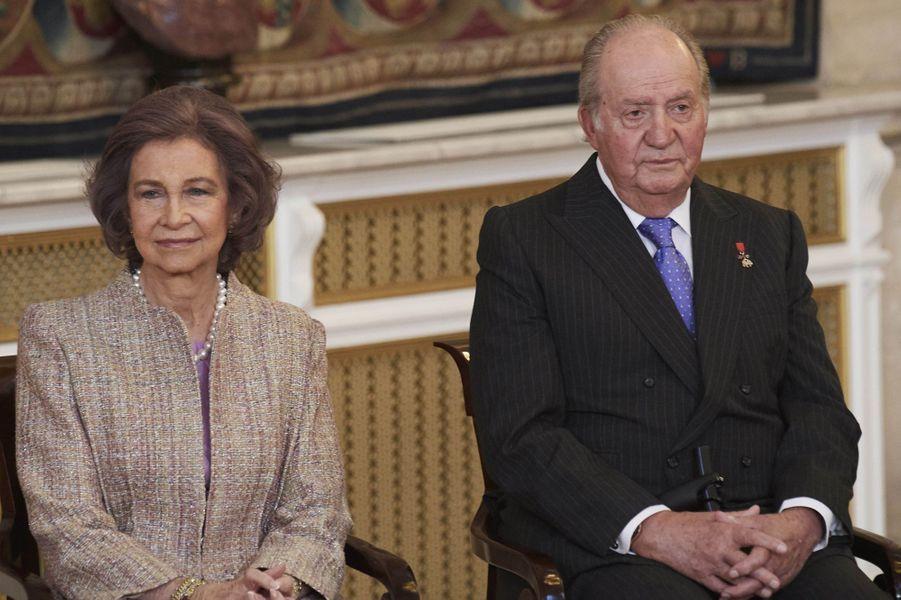 L'ex-reine Sofia et l'ex-roi Juan Carlos d'Espagne à Madrid, le 30 janvier 2018