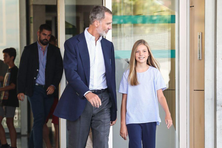 Le roi Felipe VI d'Espagne et la princesse Sofia à Madrid, le 29 août 2019