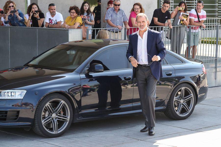 Le roi Felipe VI d'Espagne et sa fille cadette la princesse Sofia à Madrid, le 29 août 2019