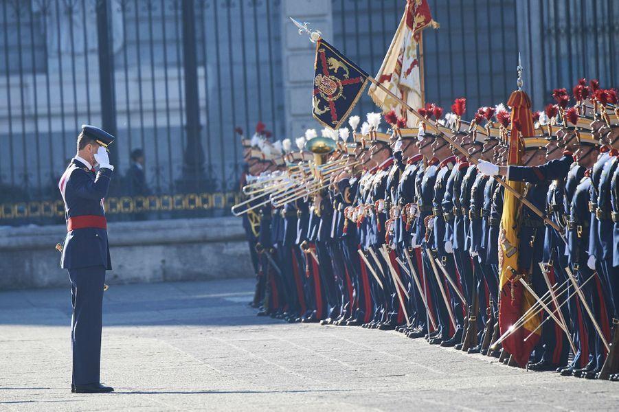 Letizia Felipe VI Espagne Paque Militaire Madrid 6 Janv 2016 12