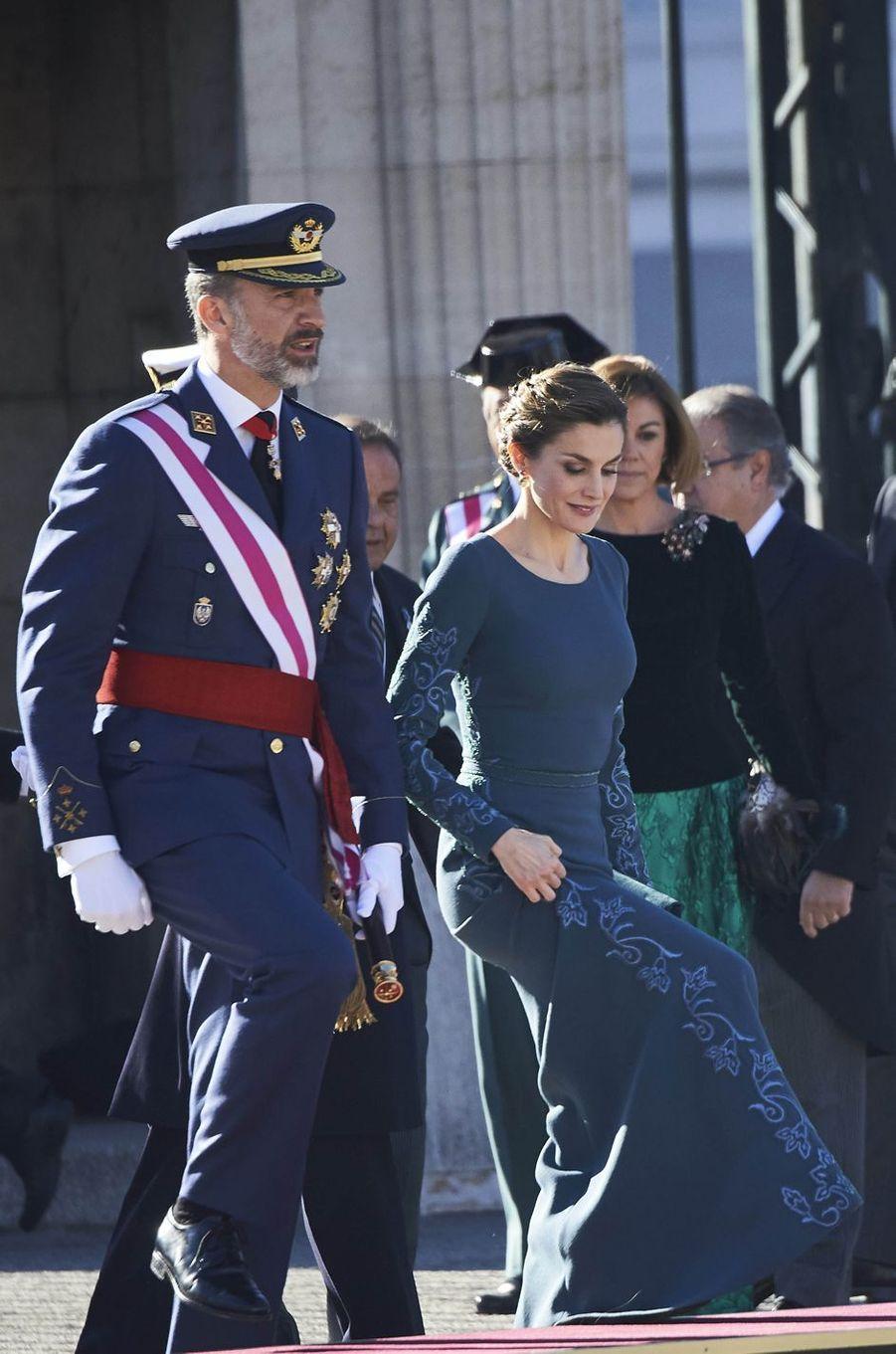 La reine Letizia et le roi Felipe VI d'Espagne lors de la Pâque militaire à Madrid, le 6 janvier 2017