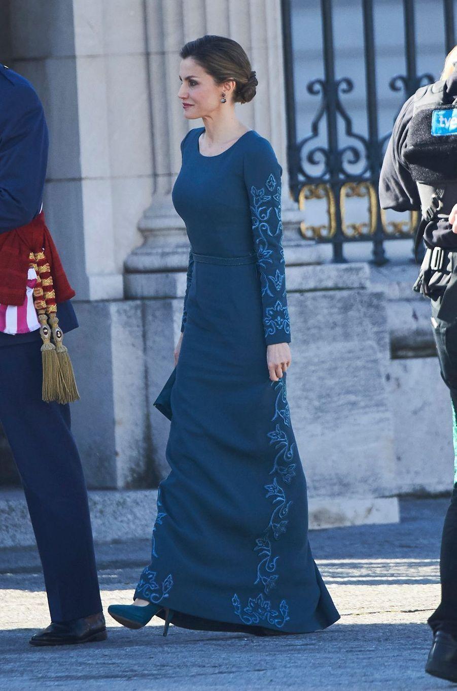 La reine Letizia d'Espagne à Madrid, le 6 janvier 2017