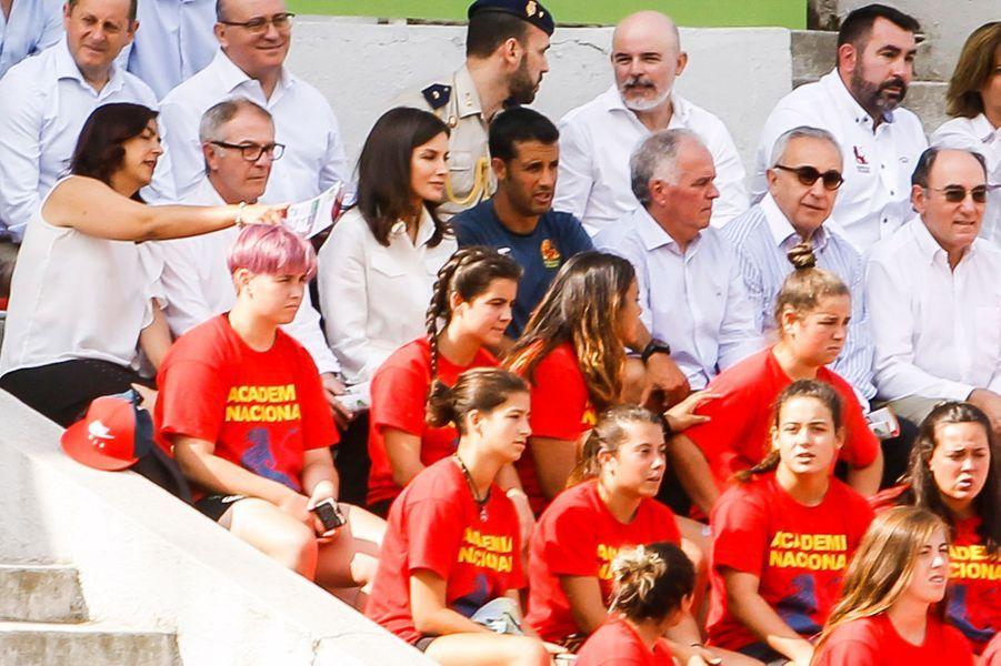 La reine Letizia d'Espagne dans le stade de l'Université complutense de Madrid, le 4 juillet 2019