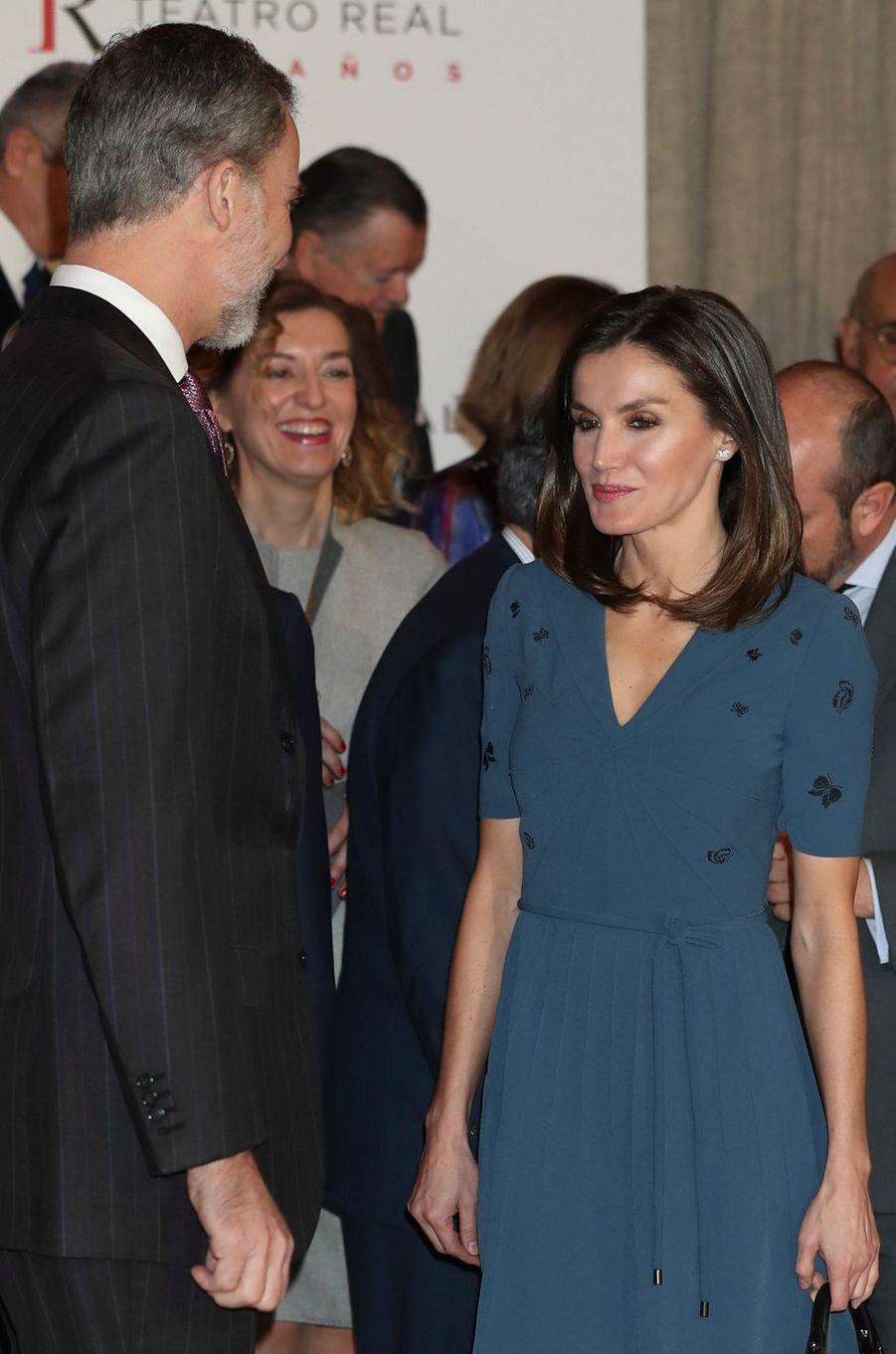 La reine Letizia et le roi Felipe VI d'Espagne à Madrid, le 7 février 2019