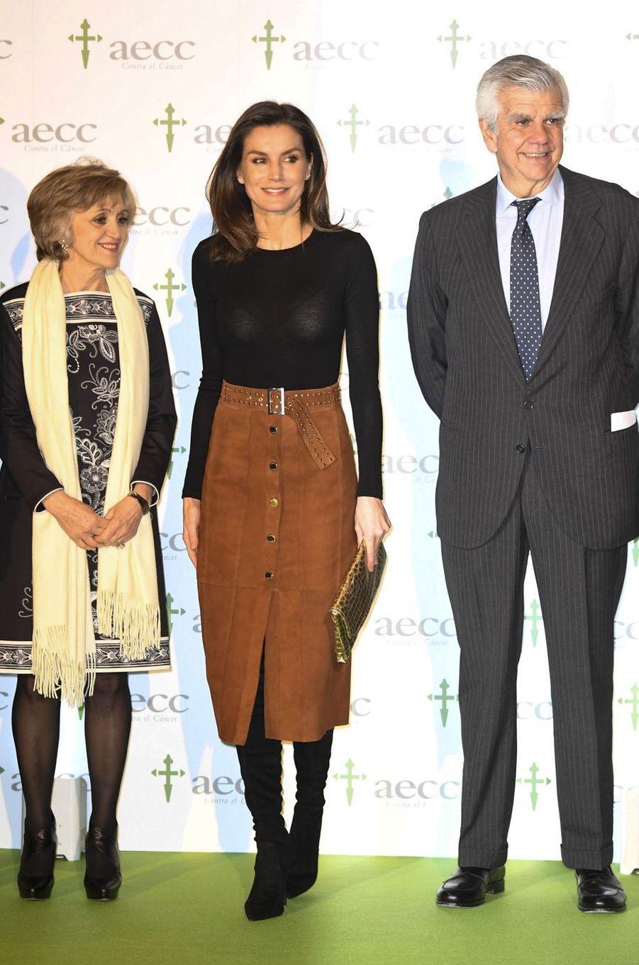 La reine Letizia d'Espagne au VIIIe Forum contre le cancer à Madrid, le 4 février 2019
