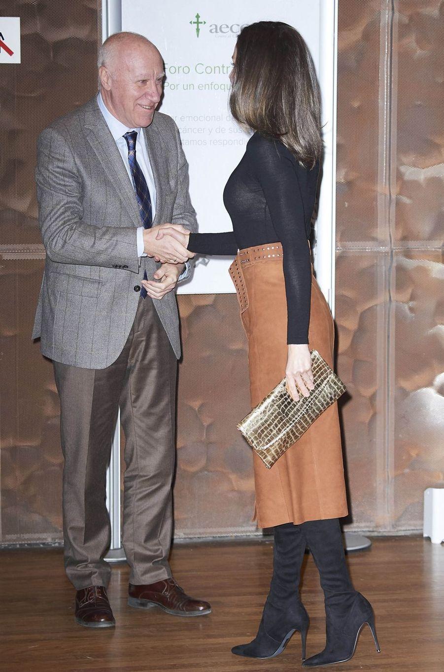 La reine Letizia d'Espagne à Madrid, le 4 février 2019