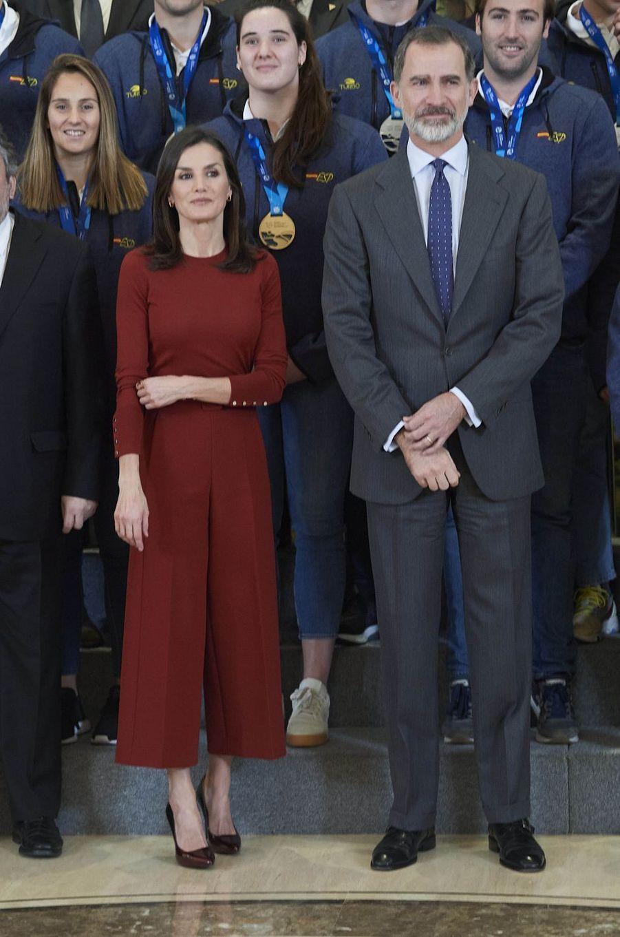 La reine Letizia et le roi Felipe VI d'Espagne à Madrid, le 31 janvier 2020