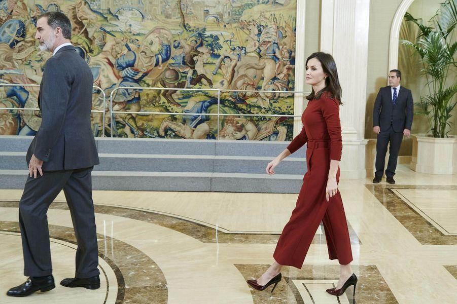 Le roi Felipe VI et la reine Letizia d'Espagne à Madrid, le 31 janvier 2020