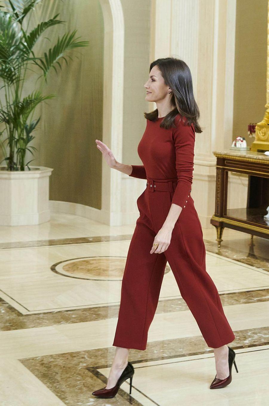 La reine Letizia d'Espagne à Madrid, le 31 janvier 2020