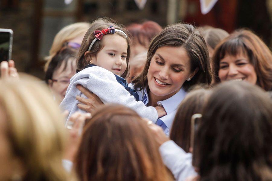 La reine Letizia d'Espagne à Mual, le 20 octobre 2018
