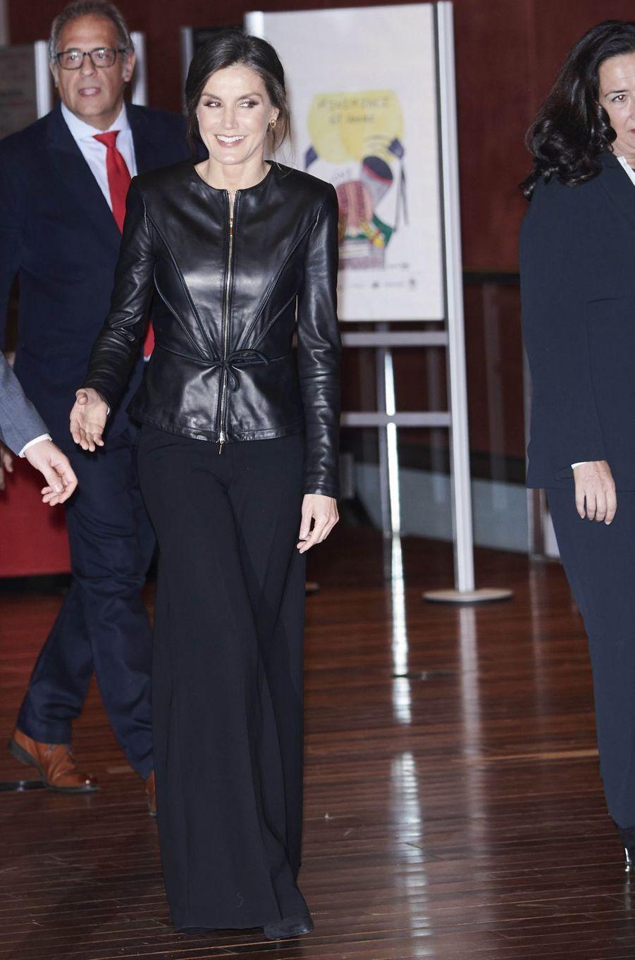 La reine Letizia d'Espagne au Festival international du film de Valladolid, le 26 octobre 2018