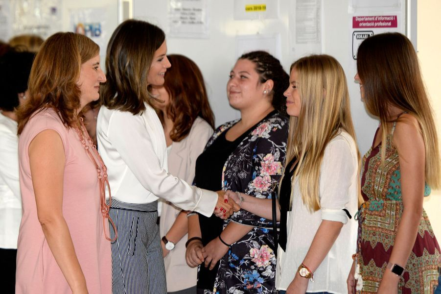 La reine Letizia d'Espagne dans un CIFP à Marratxi, le 28 septembre 2018