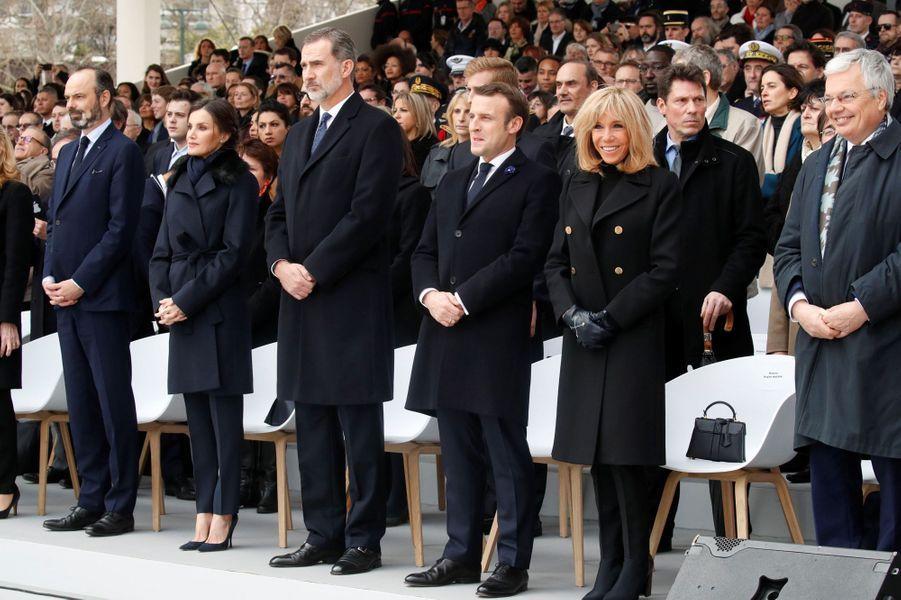 La reine Letizia et le roi Felipe VI d'Espagne au Trocadéro à Paris, le 11 mars 2020
