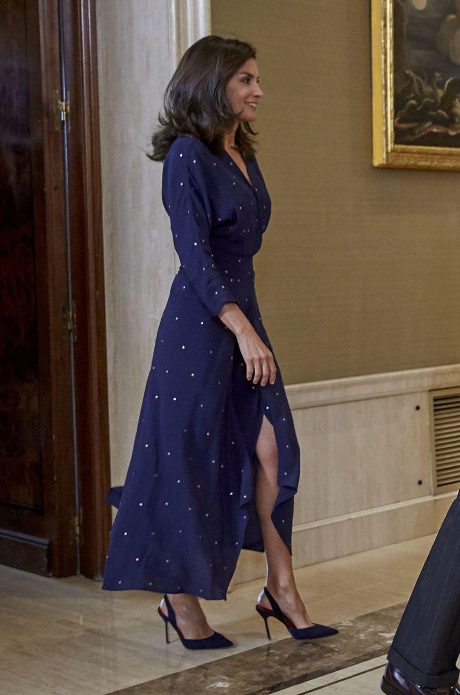 La reine Letizia d'Espagne dans une robe Maje à Madrid, le 3 septembre 2019