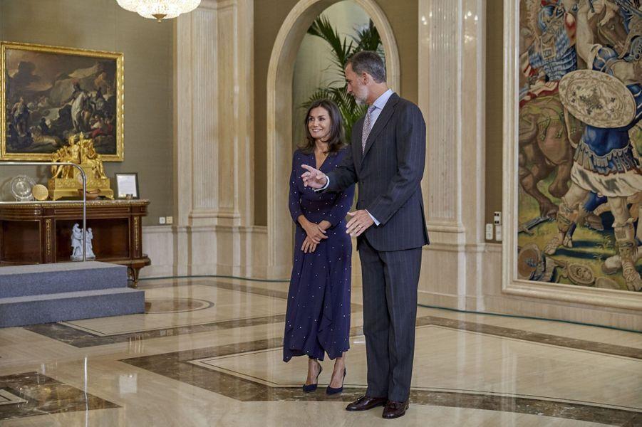 La reine Letizia et le roi Felipe VI d'Espagne à Madrid, le 3 septembre 2019