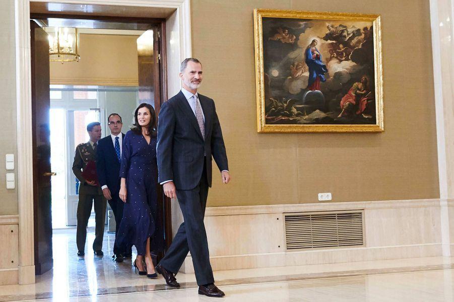 Le roi Felipe VI et la reine Letizia d'Espagne à Madrid, le 3 septembre 2019
