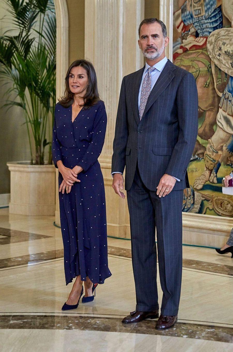 La reine Letizia avec le roi Felipe VI d'Espagne à Madrid, le 3 septembre 2019