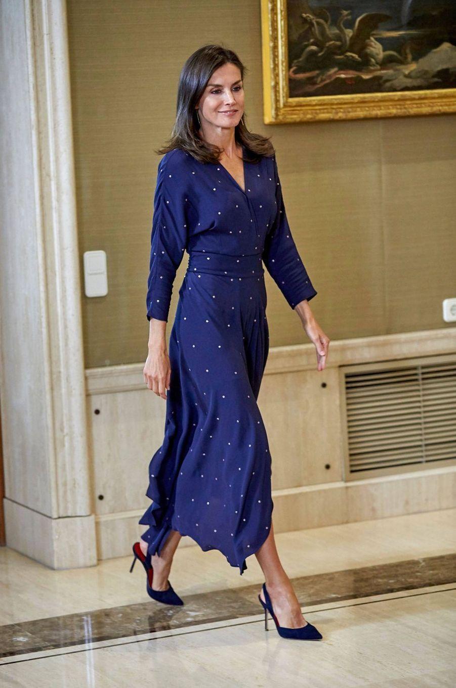 La reine Letizia d'Espagne à Madrid, le 3 septembre 2019
