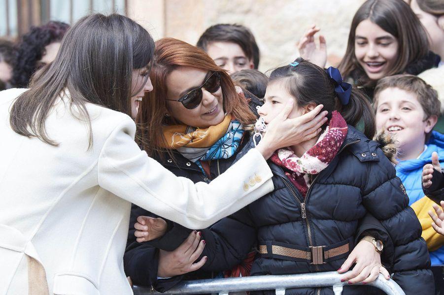 La reine Letizia d'Espagne le 11 avril 2019 à Lerma dans la province de Burgos