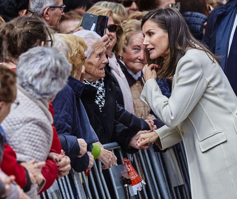 La reine Letizia d'Espagne à Lerma dans la province de Burgos, le 11 avril 2019