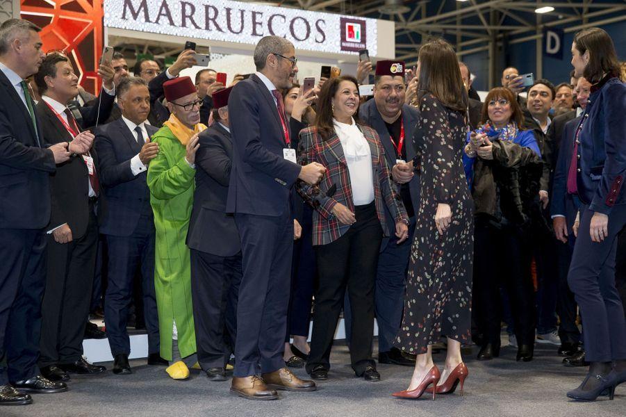 La reine Letizia d'Espagne au stand du Maroc à la FITUR à Madrid, le 22 janvier 2020