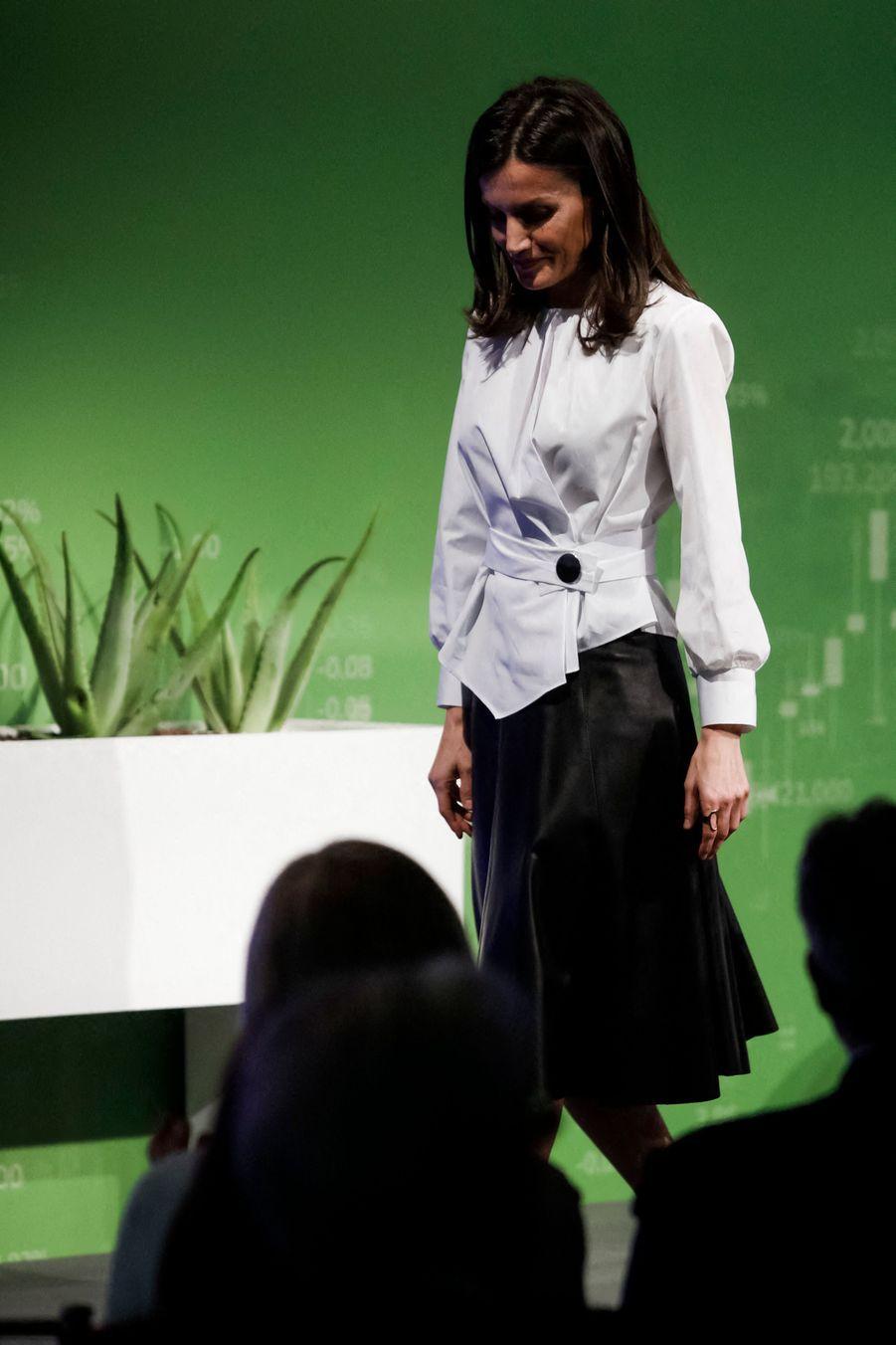 La reine Letizia d'Espagne au IXe Forum contre le cancer, le 4 février 2020 à Madrid