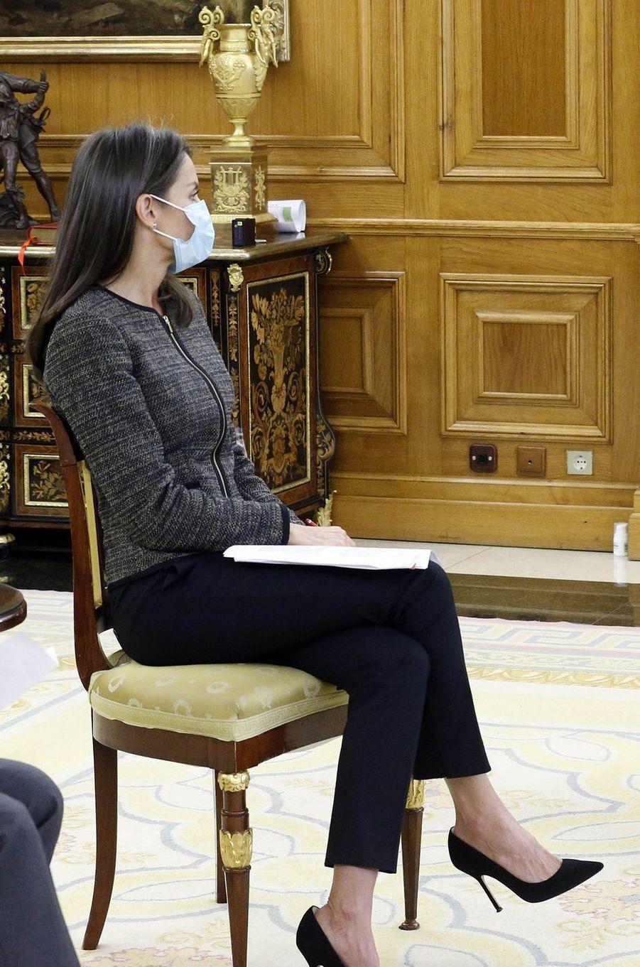 La reine Letizia d'Espagne le 28 mai 2020