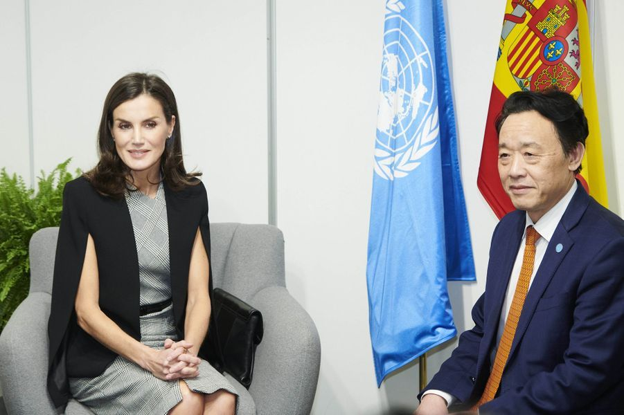 La reine Letizia d'Espagne avec le directeur général de la FAO, à Madrid le 11 décembre 2019