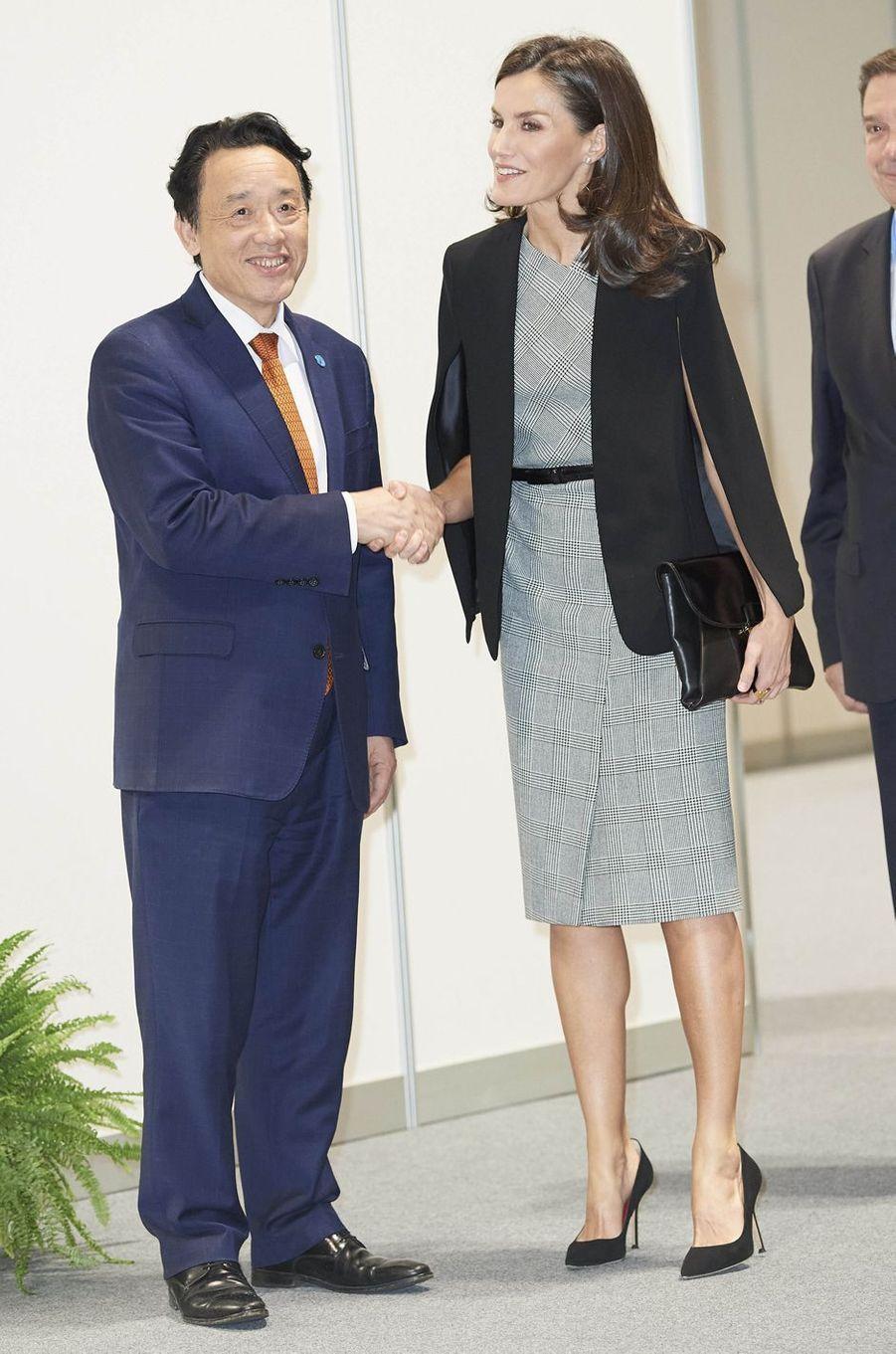 La reine Letizia d'Espagne avec le Chinois Qu Dongyu, directeur général de la FAO, à Madrid le 11 décembre 2019