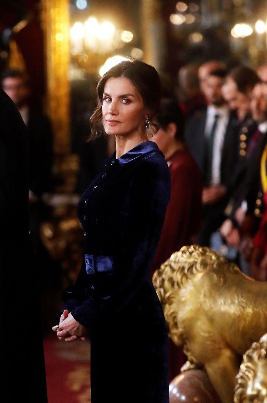 La reine Letizia d'Espagne à Madrid, le 5 février 2020