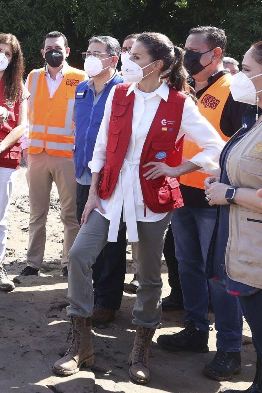 La reine Letizia d'Espagne au Honduras, le 15 décembre 2020