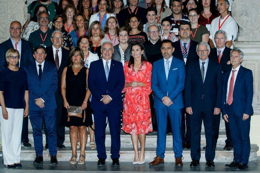 La reine Letizia d'Espagne à San Millán de la Cogolla, le 5 juillet 2019