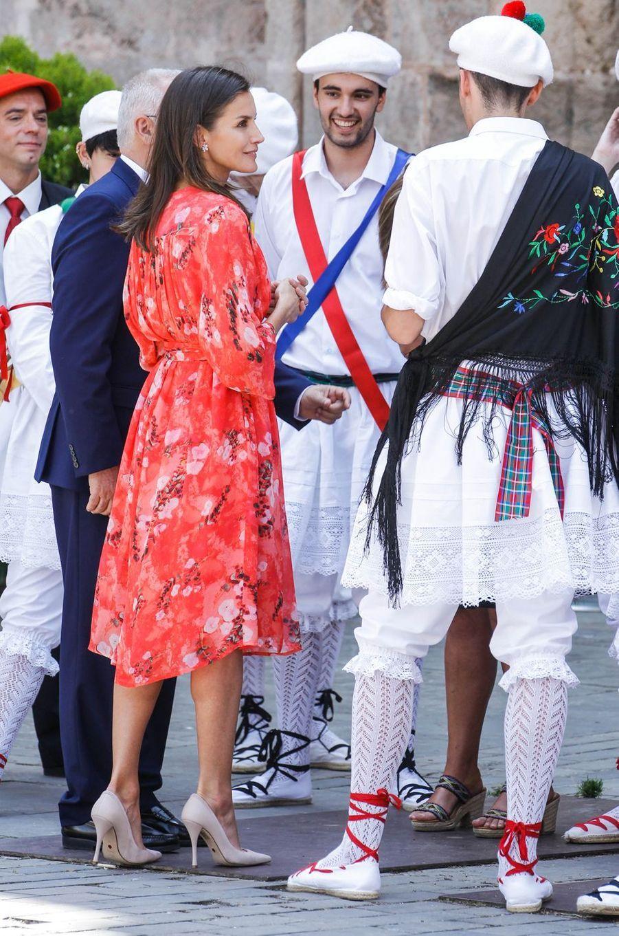La reine Letizia d'Espagne au monastère de Yuso à San Millán de la Cogolla, le 5 juillet 2019