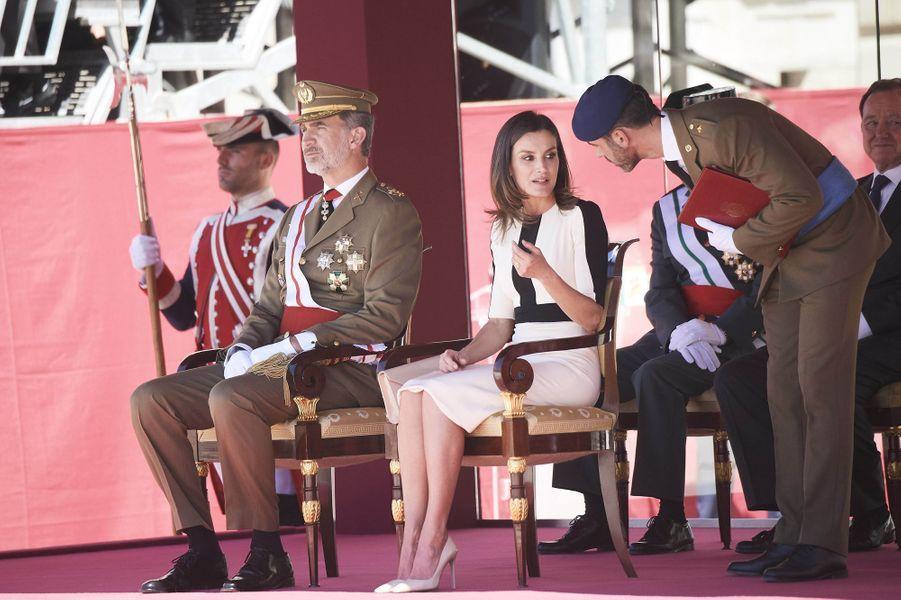La reine Letizia et le roi Felipe VI d'Espagne à Madrid, le 13 mai 2019
