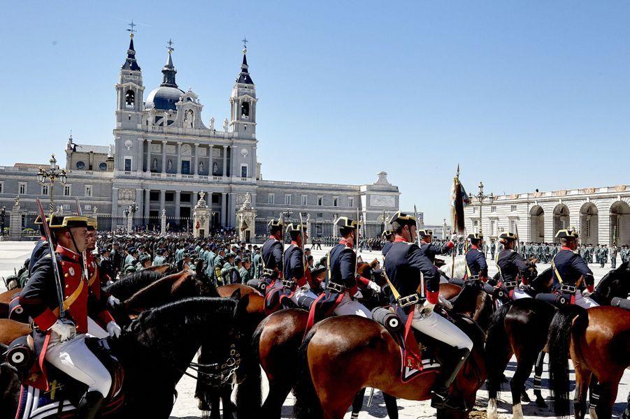 Cérémonie du 175e anniversaire de la Garde civile espagnole à Madrid, le 13 mai 2019