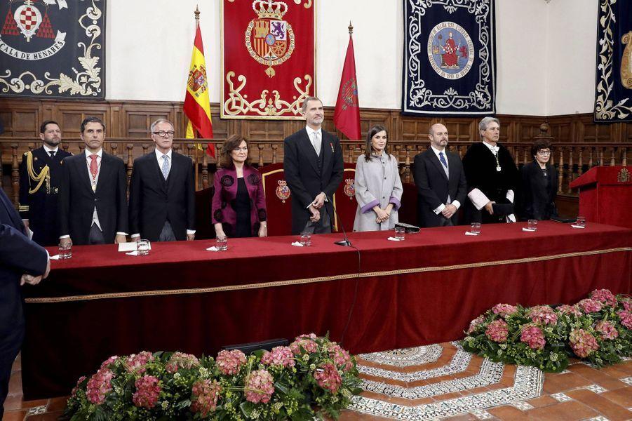 La reine Letizia et le roi Felipe VI d'Espagne à la remise du Prix Cervantes à Alcalá de Henares, le 23 avril 2019