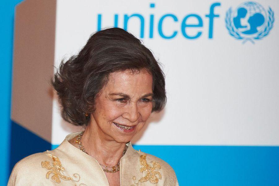 L'ex-reine Sofia d'Espagne à la remise des prix de l'Unicef à Madrid, le 23 juin 2015