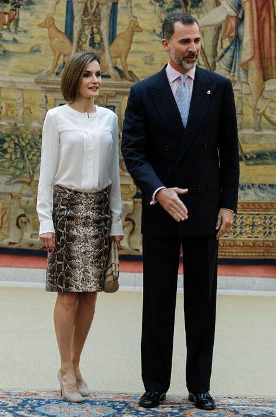 La reine Letizia et le roi Felipe VI d'Espagne au palais du Pardo à Madrid, le 22 juin 2015