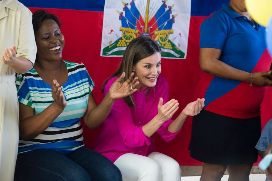La reine Letizia d'Espagne à Port-au-Prince, le 23 mai 2018