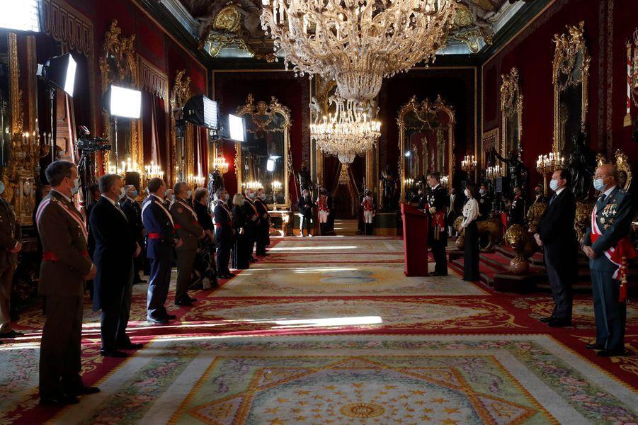 La reine Letizia et le roi Felipe VI d'Espagne à Madrid, le 6 janvier 2021