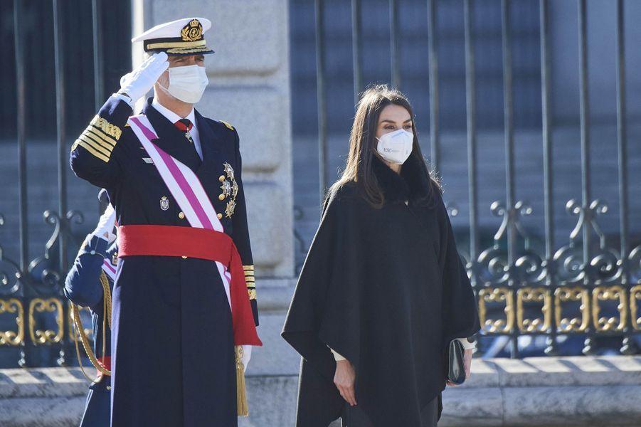 Le roi Felipe VI d'Espagne et la reine Letizia à Madrid, le 6 janvier 2021