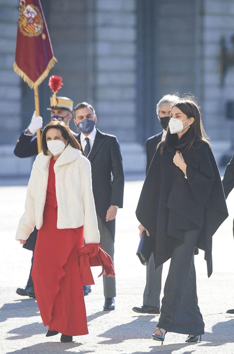 La reine Letizia d'Espagne à Madrid, le 6 janvier 2021
