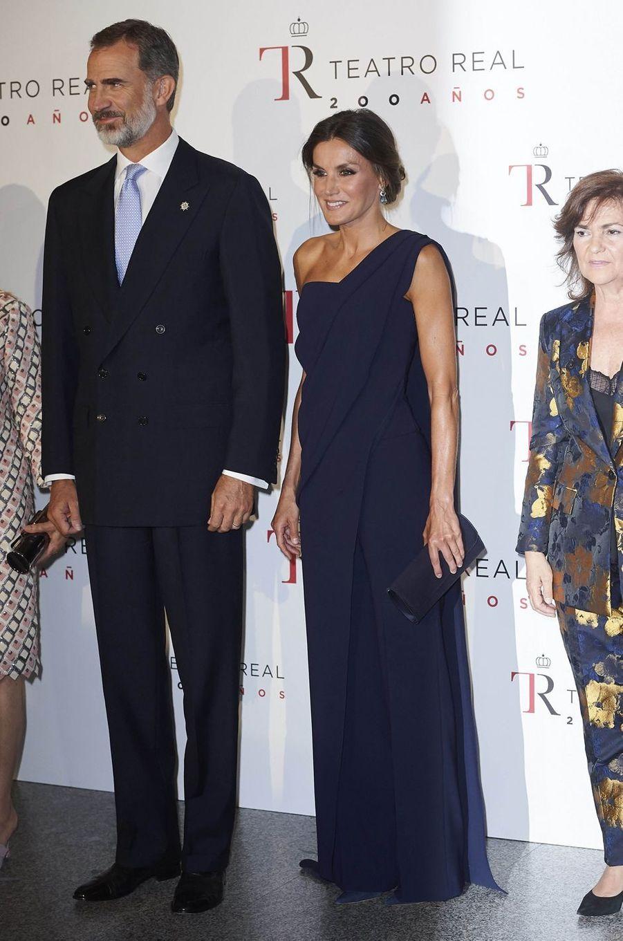 La reine Letizia et le roi Felipe VI d'Espagne à Madrid, le 19 septembre 2018