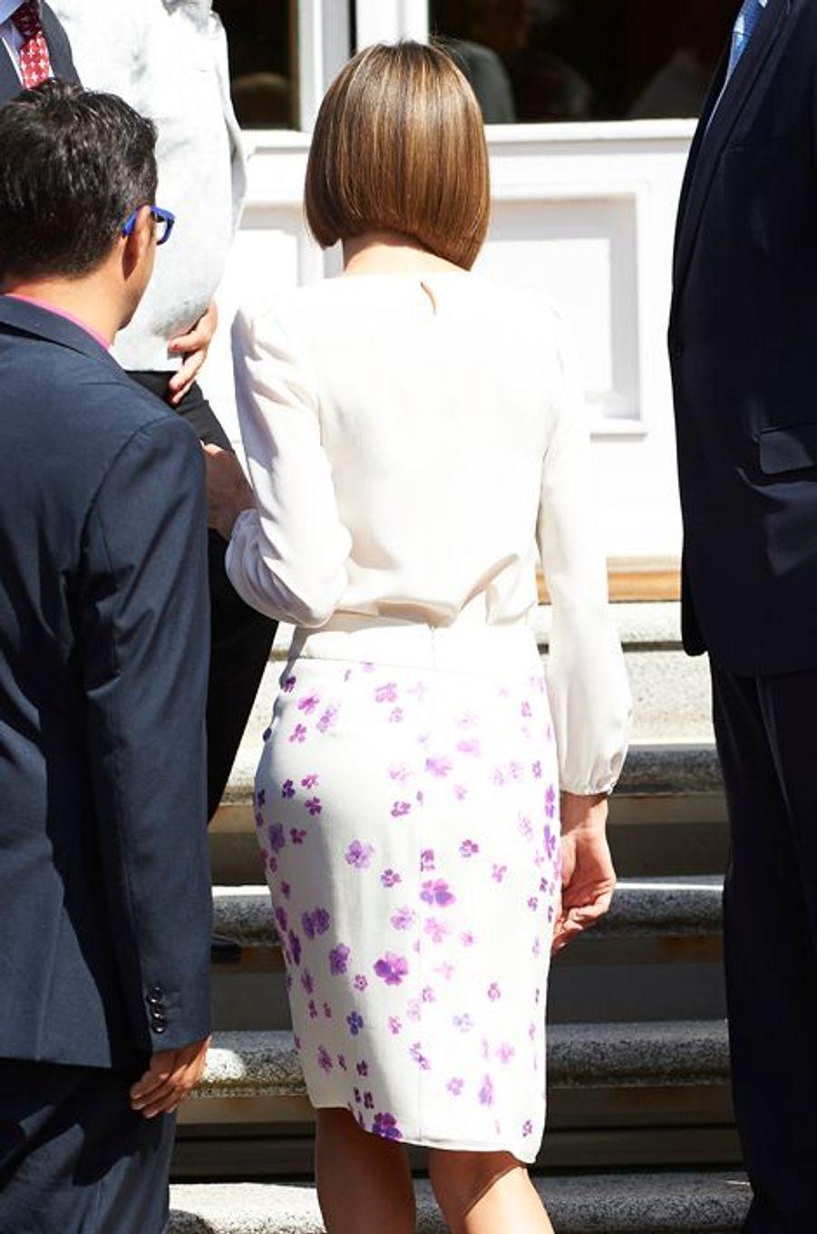 La reine Letizia d'Espagne au palais de la Zarzuela à Madrid, le 3 septembre 2015