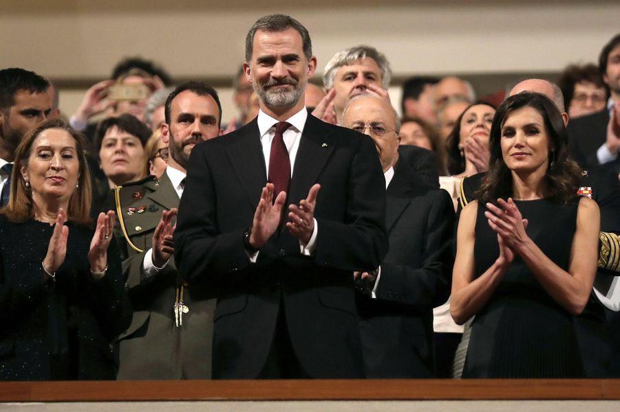 La reine Letizia et le roi Felipe VI d'Espagne à l'Auditorium national de musique de Madrid, le 7 mars 2019